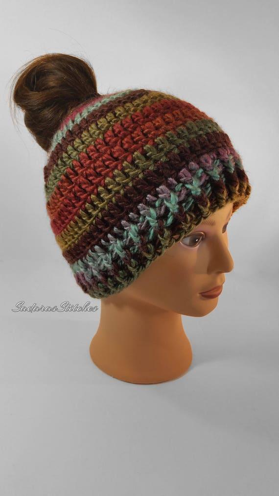 Messy Bun Hat Bun Hat Ponytail Hat Pony Tail Hat Crochet  203e73d2ef9