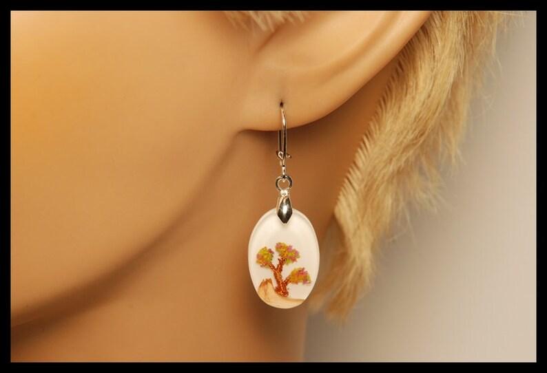 Wooden earrings with bonsai