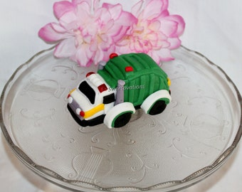 trash cans and cones garbage man Garbage Truck Recycle truck fondant cake topper set with truck