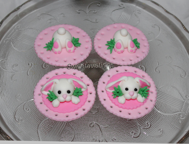 Fondant Bunny Butt Cupcake Topper Fondant Animal Butt Topper | Etsy