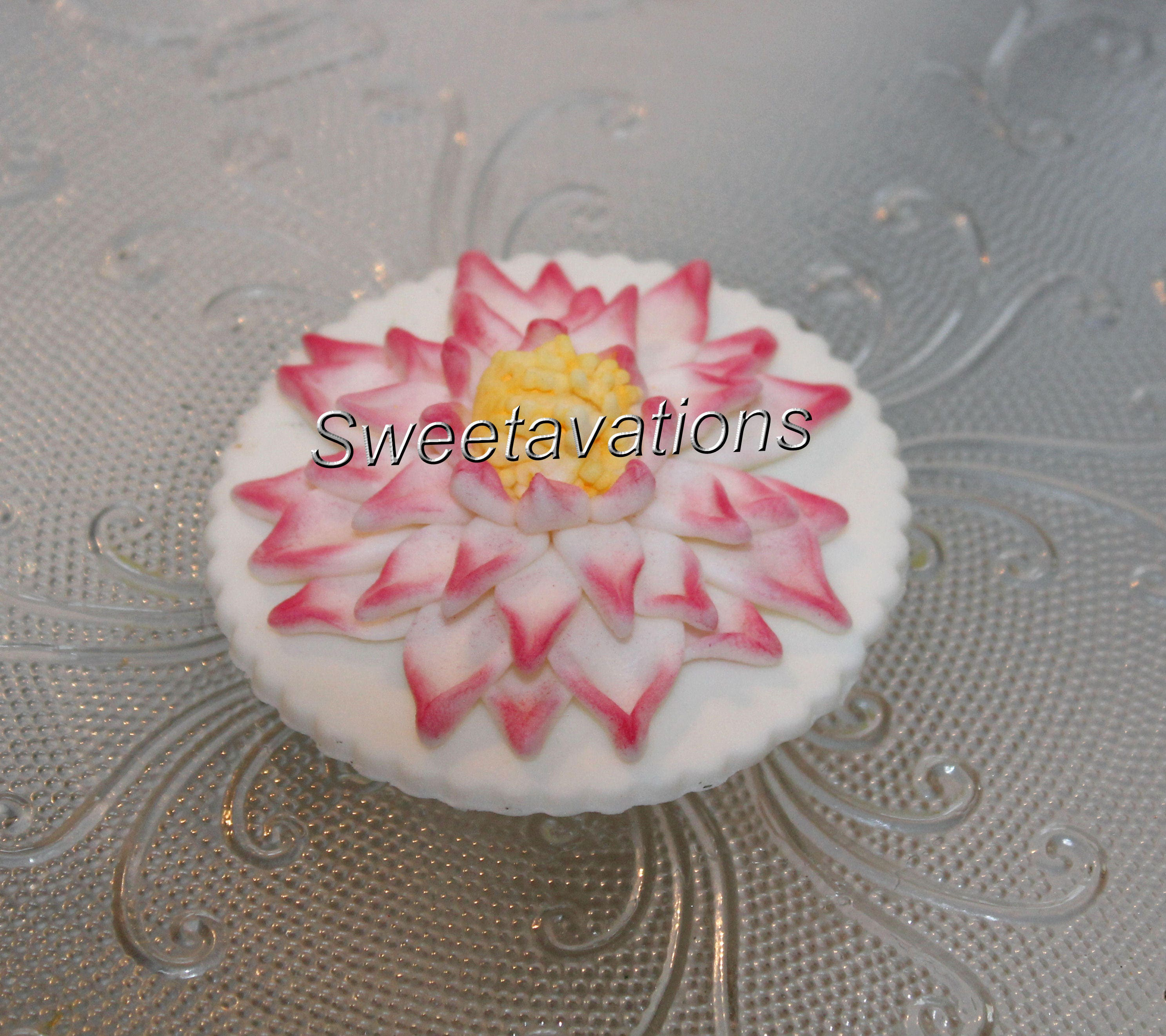 Sugar Flower Lotus Cupcake Topper Qty 12 Fondant Lotus Etsy