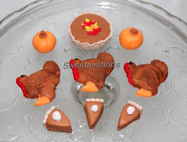 Fondant Turkey Cake Topper Fondant Pumpkin Pie Fondant | Etsy
