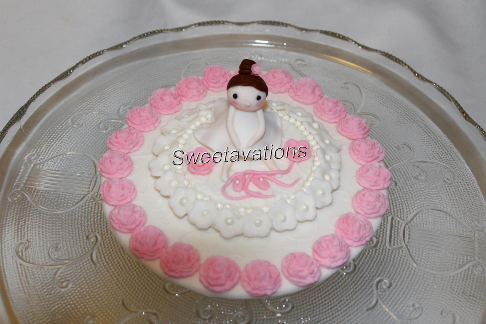 fondant ballerina cake topper - ballerina topper - dance theme - ballet topper - fondant dance - fondant ballet - girl birthday