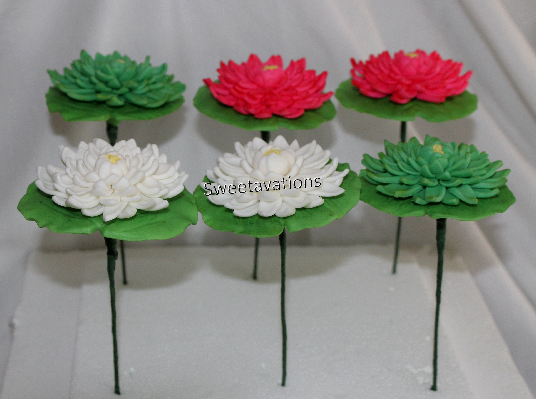 Sugar Flower Lotus Fondant Lotus Fondant Lily Pad Lotus