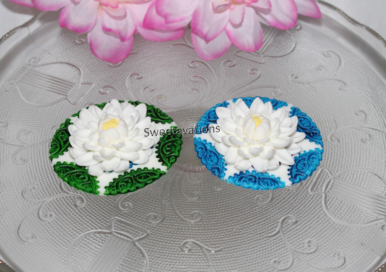 Sugar Flower Lotus Cake Topper Lotus Cupcake Topper Fondant