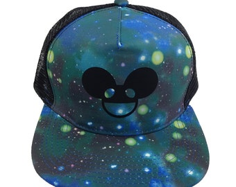 Deadmau5 EDM Rave Music Techno Trucker Hat, BLUE DOTS edc dj hat, Adjustable, Flat Bill, plur Kandi, Galaxy Trucker Hat, Black Deadmau5 Head
