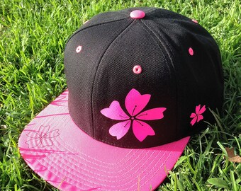 SAKURA, Pink and Black, Baseball Cap, Sakura Flower Hat, 6 Panel Baseball Cap, Sakura Anime Hat, Otaku Hat, Anime Style Hat, Anime Hat, Baka