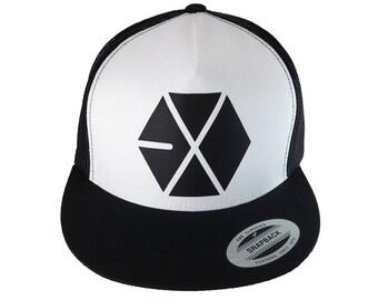 EXO LOGO Trucker Hat, Black and White, Kpop, Korean Music, Wolf 88, Sehun, Kai, Suho, Luhan, Xiumin, Tao, Kris, Lay, Adjustable, Flat Bill