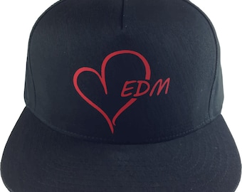 EDM HEART logo, Black Baseball Cap, Adjustable hat, Flat green under Bill, EDM wear, Plur Kandi Gear, festival wear, edc rave wear, Raver