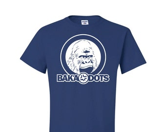 BAKA DOTS Gorilla, royal blue shirt, anime style shirt, otaku style gear, anime geek tee, geekery gift, anime style gift, anime gamer gift