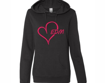 Pink EDM HEART, Junior Black Hoodie, Electric Dance Music, Heart EDM, Raver Girl style, Kandy Plur gift, Plur style, Dj Style, edm style