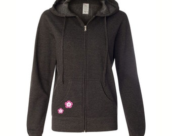 Cute Sakura Blossom, Dark Gray, Full-Zip Hoodie, Pink and White, Cherry Blossom, Cute Cherry Blossom, Kawaii Blossom, Baka Dots Logo, Gift