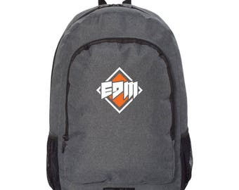 EDM SIGN Logo, Gray and Black Backpack, Champs Backpack, Back to School Backpack, Laptop Sleeve Backpack, Edm, Grad Gift, trance, dub step