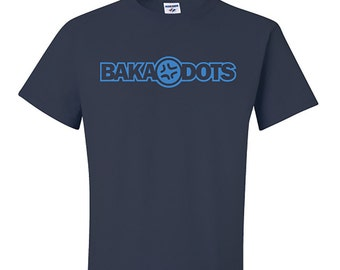 Baka Dots Text Logo Navy Blue T-Shirt, Navy Blue and Cyan Blue TShirt, Otaku Gift, Geekery Gift, Back to School Gift, Navy Blue Cotton Tee