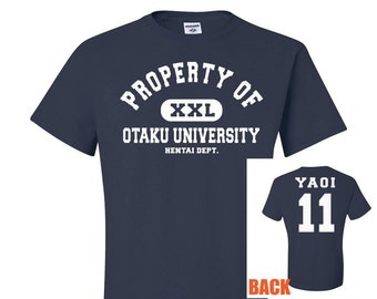 Property of Otaku University Navy Blue T-Shirt, Yaoi Tshirt, yuri hentai 00 shirt, anime style shirt, university style tee, otaku geek gift