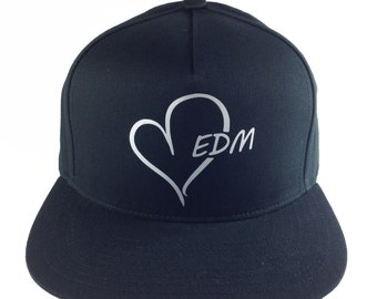 EDM HEART logo Black and silver Baseball Cap, Adjustable hat, Flat green under Bill, EDM wear, Plur Kandi Gear, festival wear, edc rave wear