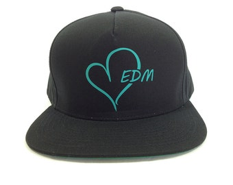 EDM HEART logo Black and Teal Baseball Cap, Adjustable hat, Flat green under Bill, EDM wear, Plur Kandi Gear, festival wear, edc rave wear