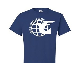 United Forces of Earth, Anime Style Shirt, Royal Blue Shirt, Otaku Gift, Anime Gear Gift, Inaho style shirt, mens cotton tee, geek gift