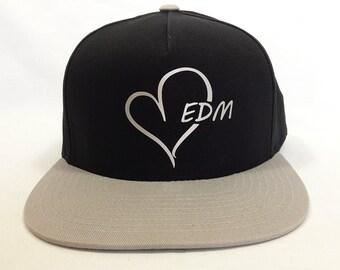 EDM HEART logo Black and silver Baseball Cap, Adjustable hat, Flat green under Bill, EDM wear, Plur Kandi Gear, festival wear, edc rave wear