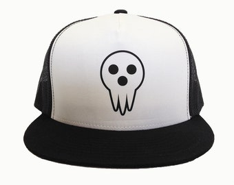 DEATH MASK anime hat cap, Black White Trucker Hat, Adjustable, Mesh Back, Flat Bill, Manga Style, High Profile, DWMA Fan Gear, Anime Gear