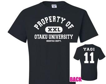 Property of Otaku University Black T-Shirt, Yaoi Tshirt, yaoi hentai 11 shirt, anime style shirt, university style tee, otaku geek gift