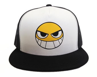 Evil Smile Anime hat cap, Smiley Face, Trucker Hat, Casual Cosplay, Adjustable Back, anime gift, otaku gift, geekery gift, black and white