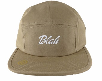 Blah Logo, khaki Jockey Hat, Baka Dots Logo, Adjustable Hat, Anime Style Gift, Shooter Gift, Geekery Gift, Blah Hat Gift, Khaki Hat, Gift