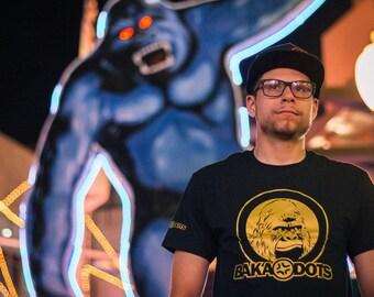 BAKA DOTS Logo, Metallic Gold, Gorilla Logo, Black T-Shirt, Unisex T-Shirt, Anime style gift, Otaku Gift, Geek Gear, Geek gift, baka dots