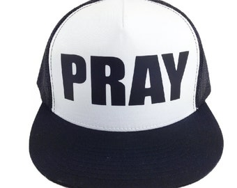 PRAY, Black and White Classic Trucker Hat, Adjustable Snap Back, Easter Hat, Pray Hat, Easter Gift, Religious Gift, Pray Trucker Hat, Gift