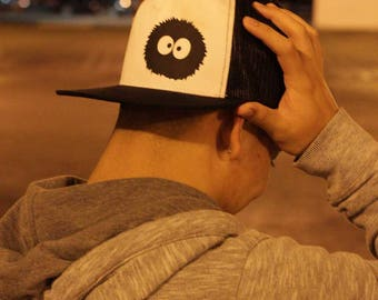 Soot Ball, Totoro Dust Bunny, Anime Style, Black and White, Truker hat, Totoro Trucker, Geek gift, Otaku gift, Anime gift, Anime Style Gift