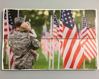 Military Gift, Gift for him, Gift for soldier, Soldier and little girl surrounded by American flags wooden wall decor