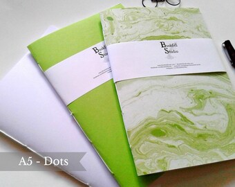 SET of 3 - Dot Grid - A5 Travelers Notebook Insert - Fauxdori Midori Insert - Bulk Book Bundle - Green TN Insert A5 Dotted  - Dots -  N389