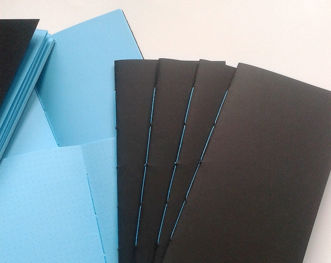 THE BLUES Traveler's Notebook Insert, TN Insert, Personal Journal, Midori Insert, Coloured Paper Journal, Black and Blue, Turquoise - N204