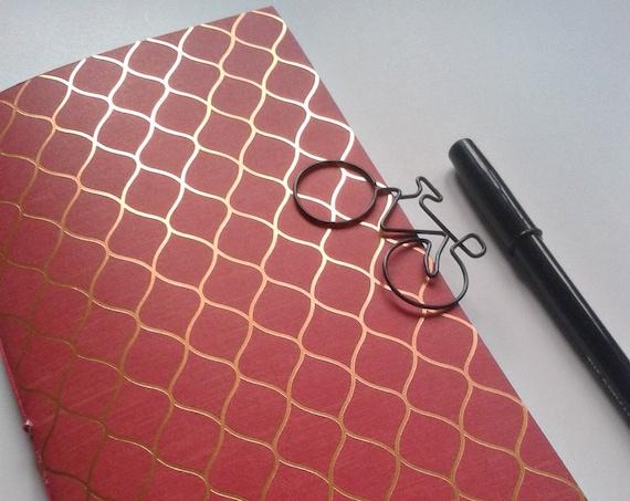 Traveler's Notebook Insert, Bullet Journal Insert, Midori Insert, Personal Log, Fauxdori, Standard Size, Red and Gold Foil - N205