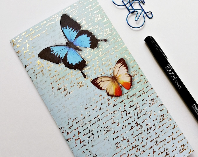 Travelers Notebook Insert BUTTERFLIES Travelers Notebook Insert Regular Standard A5 Wide B6 Personal A6 Field Notes Passport Blue - N522