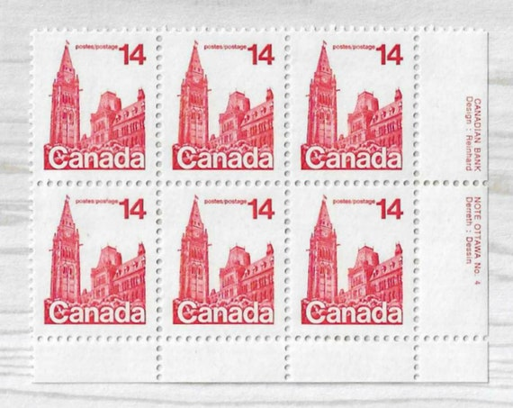 6 Unused Canadian Stamps - Vintage Postage - 1978 PARLIMENT BUILDINGS- Travelers Notebook Journal Ephemera Cards Mail Invitations Red - S005