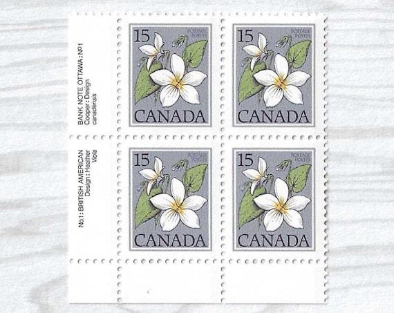 4 Unused VIOLET Canadian Postage Stamps - Vintage Stamps 1979 - Travelers Notebook Journal Ephemera, Cards, Collage, Invitations - S007