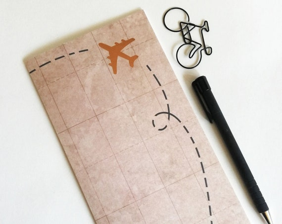 Travelers Notebook Insert GOLD AIRPLANE Travelers Notebook Insert Regular Standard A5 Wide B6 Personal A6 Field Notes Passport Micro - N599