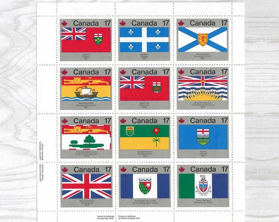 12 Unused Canadian Stamps - Vintage Postage - 1979 PROVINCIAL FLAGS - Travelers Notebook Journal Ephemera Cards Mail Invitations Post - S006