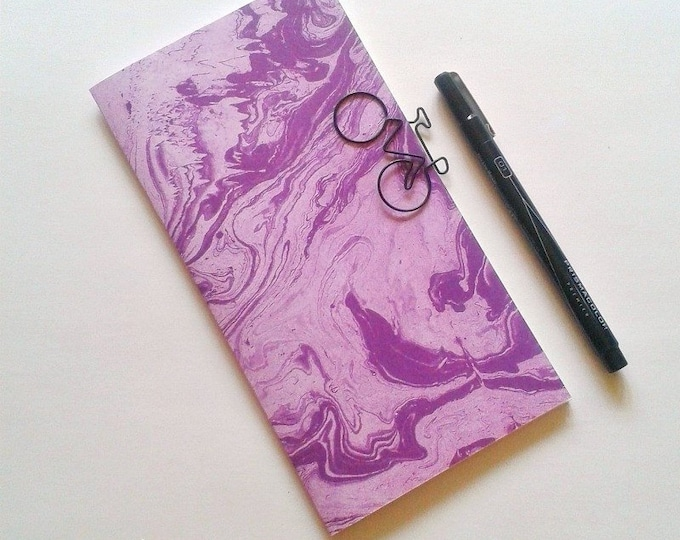 PURPLE MARBLE Traveler's Notebook Insert | Fauxdori Midori Insert | Bullet Journal | Dot Grid Lined Blank - N181