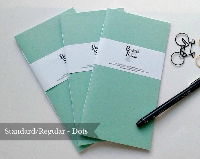 SET of 3 - Standard / Regular Travelers Notebook Inserts - Dot Grid 24 lb - Midori Insert - Mint Green Cover - Travelers Notebook -  N430D