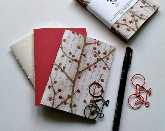3 x Passport Travelers Notebook Insert - Dot Grid - Fauxdori Midori Insert - Book Bundle - Red Cream Berries - TN Accessory - N465