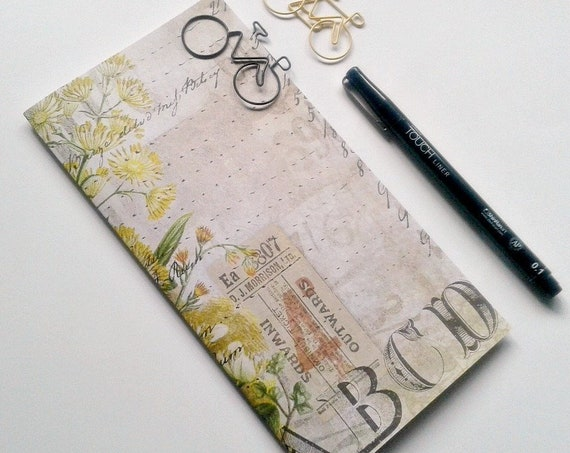WILD FLOWERS - Travelers Notebook Insert - Midori Refill - TN Accessory - Regular Standard A5 B6 Personal A6 Pocket Passport Nano - N436