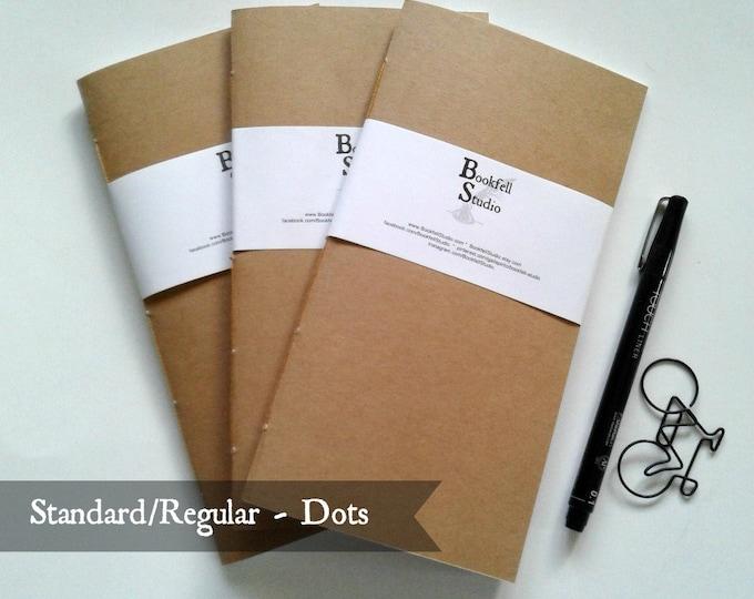 SET of 3 - Standard / Regular Travelers Notebook Inserts - Dot Grid 24 lb 90 gsm Paper - Kraft Cover - Fauxdori Midori Dotted Book -  N390D