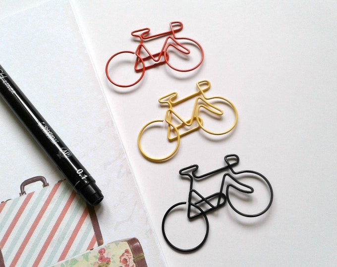 BICYCLE PAPERCLIP - Traveler's Notebook Accessory - Planner Book Mark - Midori Insert Charm -  Bookmark Charm - Journal Page Marker - DS009