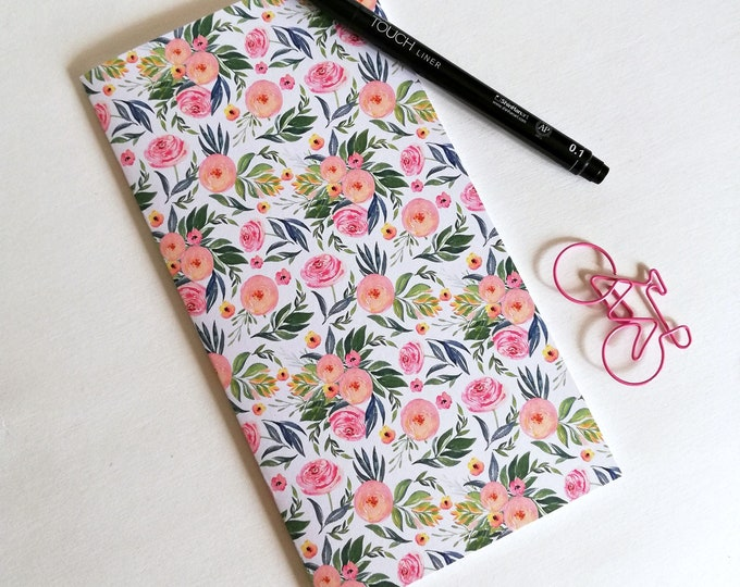PINK FLORAL Travelers Notebook Insert - Fauxdori Midori Insert - TN Refill Accessory - Pink Flowers - 9 Sizes - N534