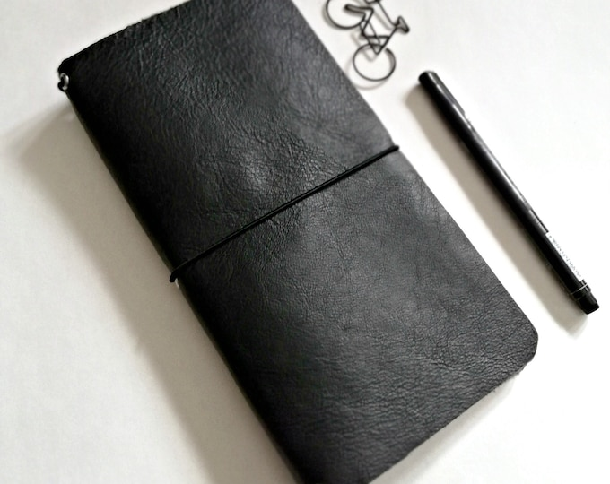 BLACK - Leather Travelers Notebook cover, Fauxdori cover, Standard / Regular size - Leather Journal with Refill Notebooks - T107
