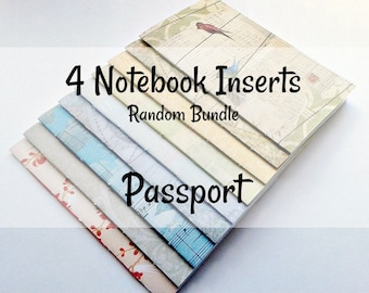 Set of 4 - Passport Travelers Notebook Inserts - RANDOM SURPRISE Cover and Inner Pages - Passport 4.9 x 3.5 -  Midori - TN Insert - RM040P