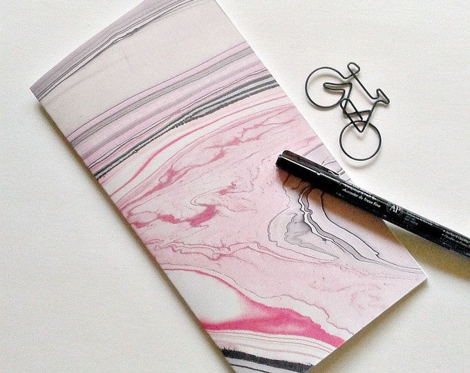 PINK BLACK MARBLE  Traveler's Notebook Insert - Midori Insert - Fauxdori - Pink Insert - Traveler's Journal - Personal Diary Journal - N155