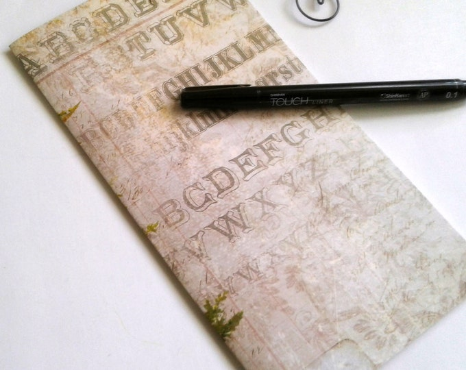 ALPHABET Traveler's Notebook Insert - Midori Insert - Fauxdori - TN Insert - Traveler's Journal - Personal Diary Journal - N505